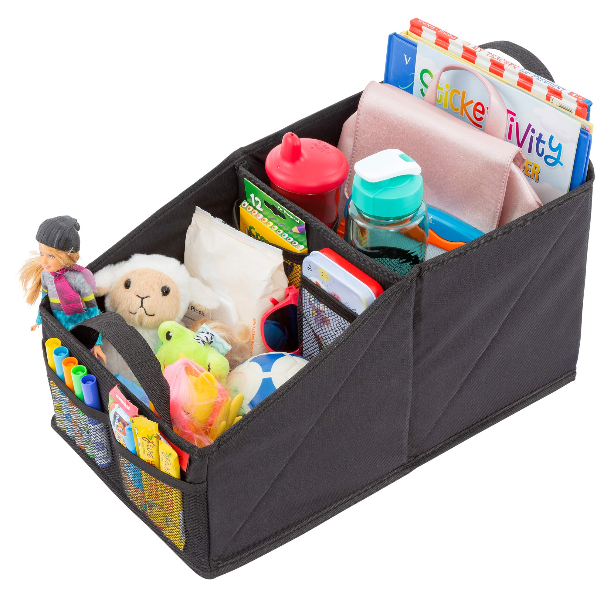 Premium Front & Backseat Car Organizer | Heavy Duty Back Stitching - 9 Clutter-Free Seat Storage Pockets | Easily Keep Seats & Floors Organized & Clean w/ Supply and Toy Organizers for Kids & Adults by Lusso Gear