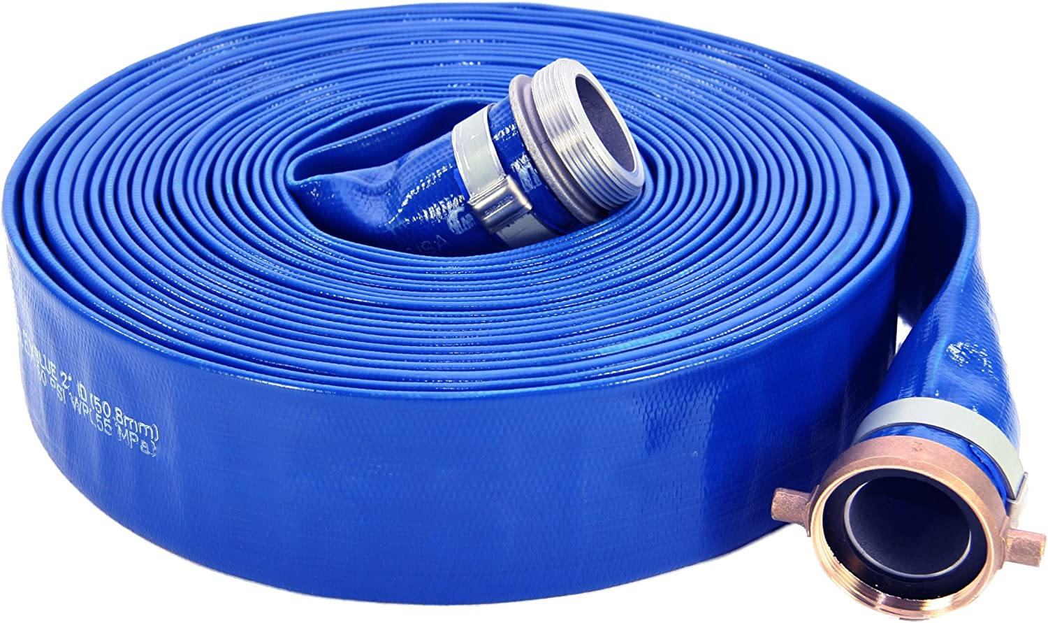 "Abbott Rubber 1147-1500-50 PVC Discharge Hose Assembly, Blue, 1-1/2"" Male X Female NPSM, 70 psi Max Pressure, 50' Length, 1-1/2"" ID"