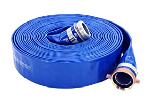 "Abbott Rubber PVC Discharge Hose Assembly, Blue, 2"" Male X Female NPSM, 65 psi Max Pressure, 50' Length, 2"" ID"