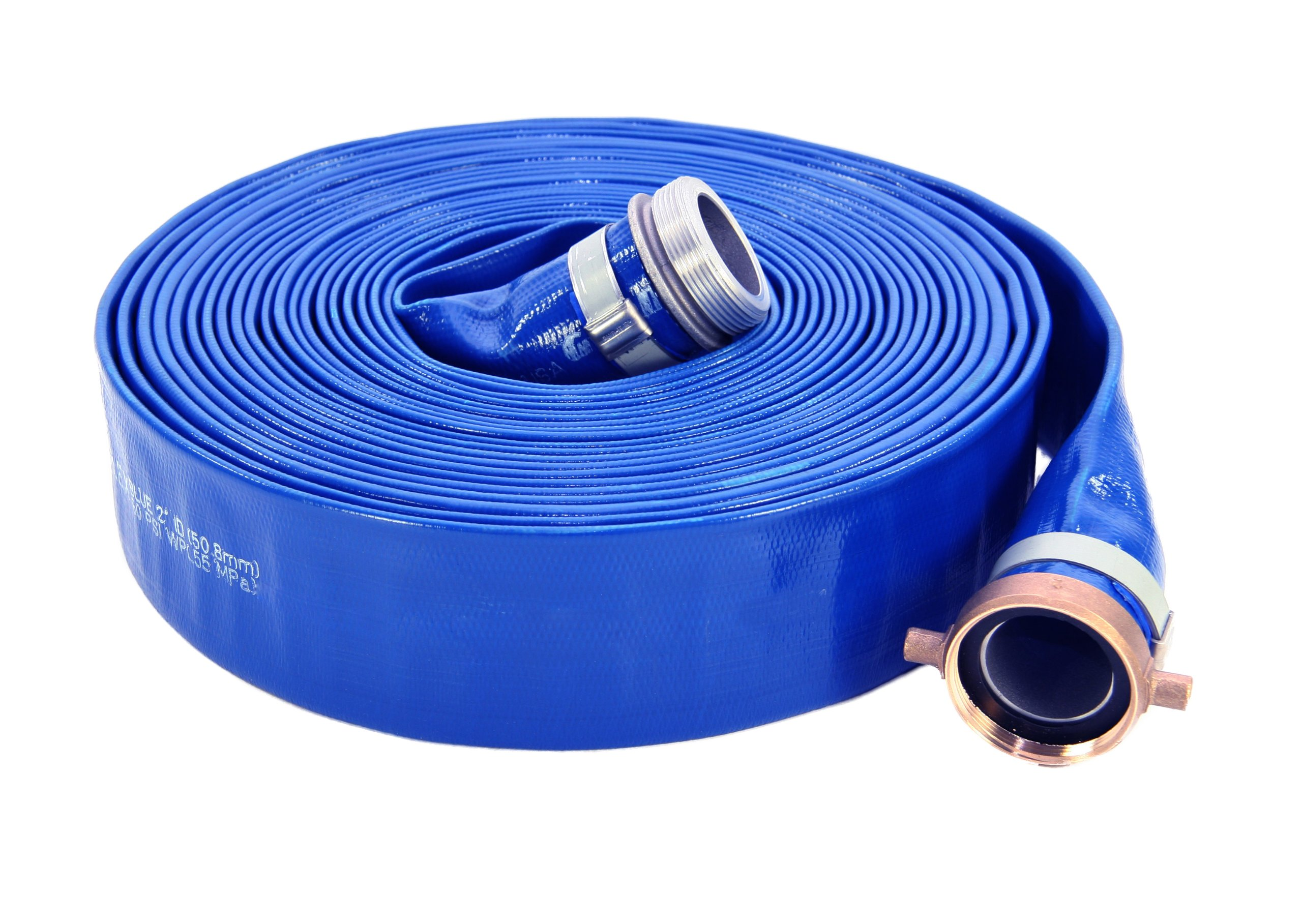 Abbott Rubber PVC Discharge Hose Assembly, Blue, 2'' Male X Female NPSM, 65 psi Max Pressure, 50' Length, 2'' ID