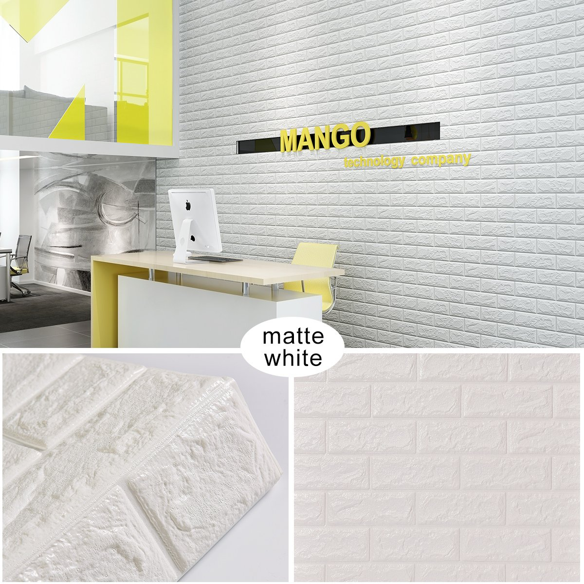 Goetland 5.9 Sq Ft 3D Brick Wall Panels Stickers PE Foam Self Adhesive Wallpaper Removable Wall Decoration, Pack of 10, White