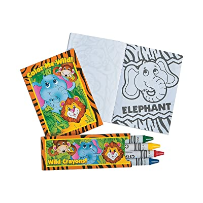 Fun Express - Mini Zoo Animal Coloring Sets - Stationery - Activity Books - Coloring Books - 12 Pieces: Toys & Games