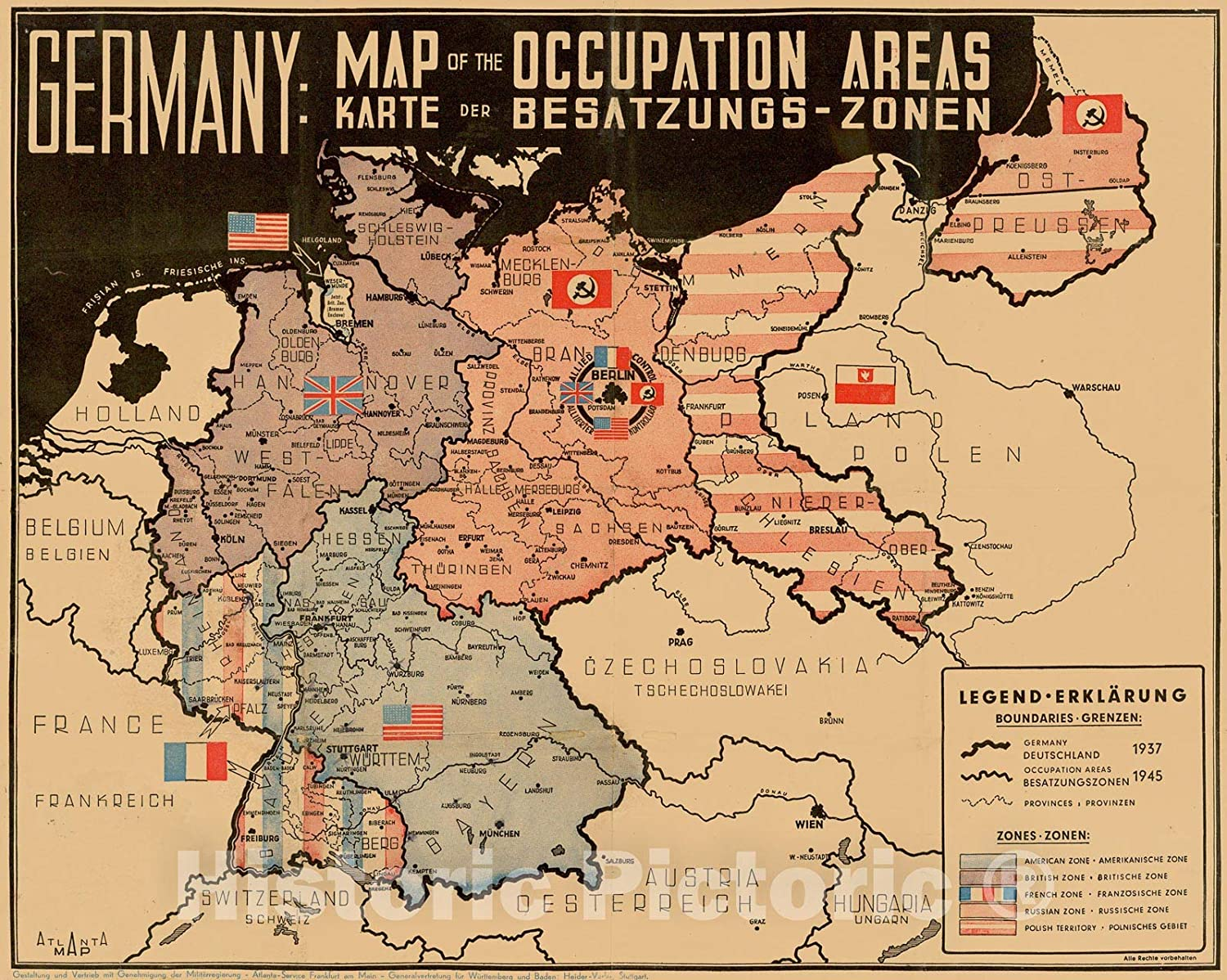 Amazon Com Historic Map Germany Map Of The Occupation Areas Map Depicts Germany And Central Europe In The Immediate Wake Of World War Ii 1945 Atlanta Map Vintage Wall Art 30in X