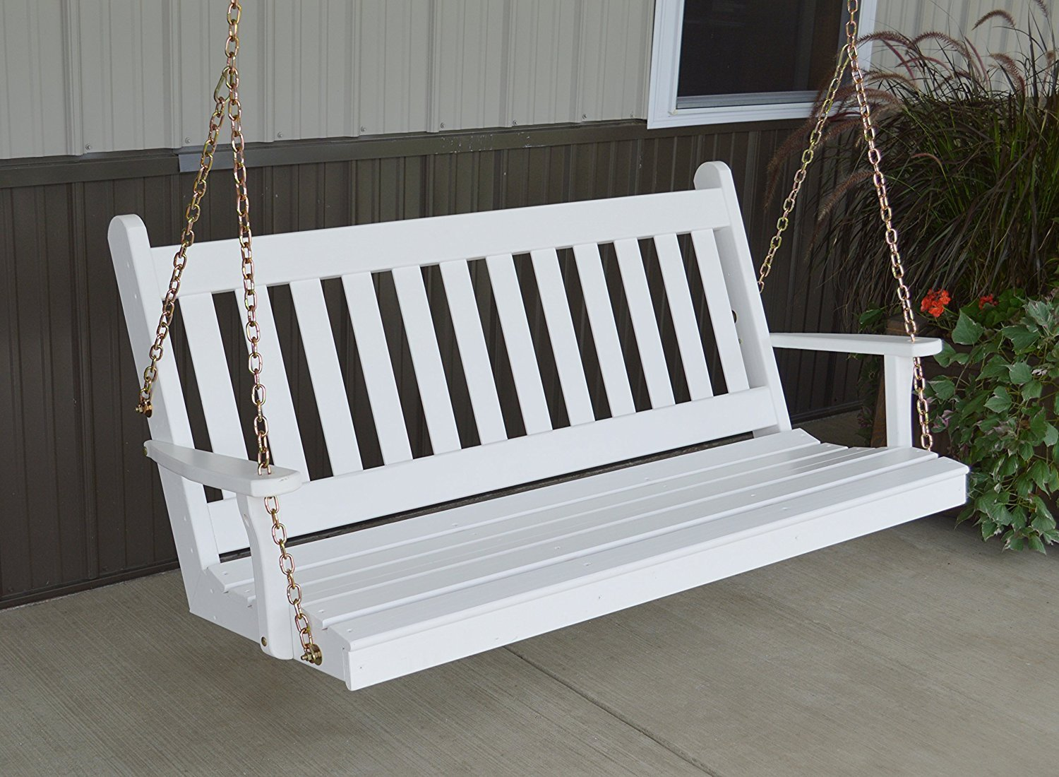 Dress the Yard Traditional Amish-Crafted Yellow Pine Porch Swing 4 Foot, White
