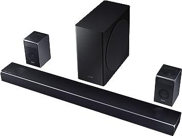Amazon Com Samsung Harman Kardon 7 1 4 Dolby Atmos Soundbar Hw Q90r With Wireless Subwoofer And Rear Speaker Kit Adaptive Sound Game Mode 4k Pass Through With Hdr Bluetooth Alexa Compatible Hw Q90r Za Electronics
