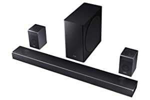 Samsung Harman Kardon 7.1.4 Dolby Atmos Soundbar HW-Q90R with Wireless Subwoofer and Rear Speaker Kit, Adaptive Sound, Game Mode, 4K Pass-Through with HDR, Bluetooth Compatible, 512-Watts