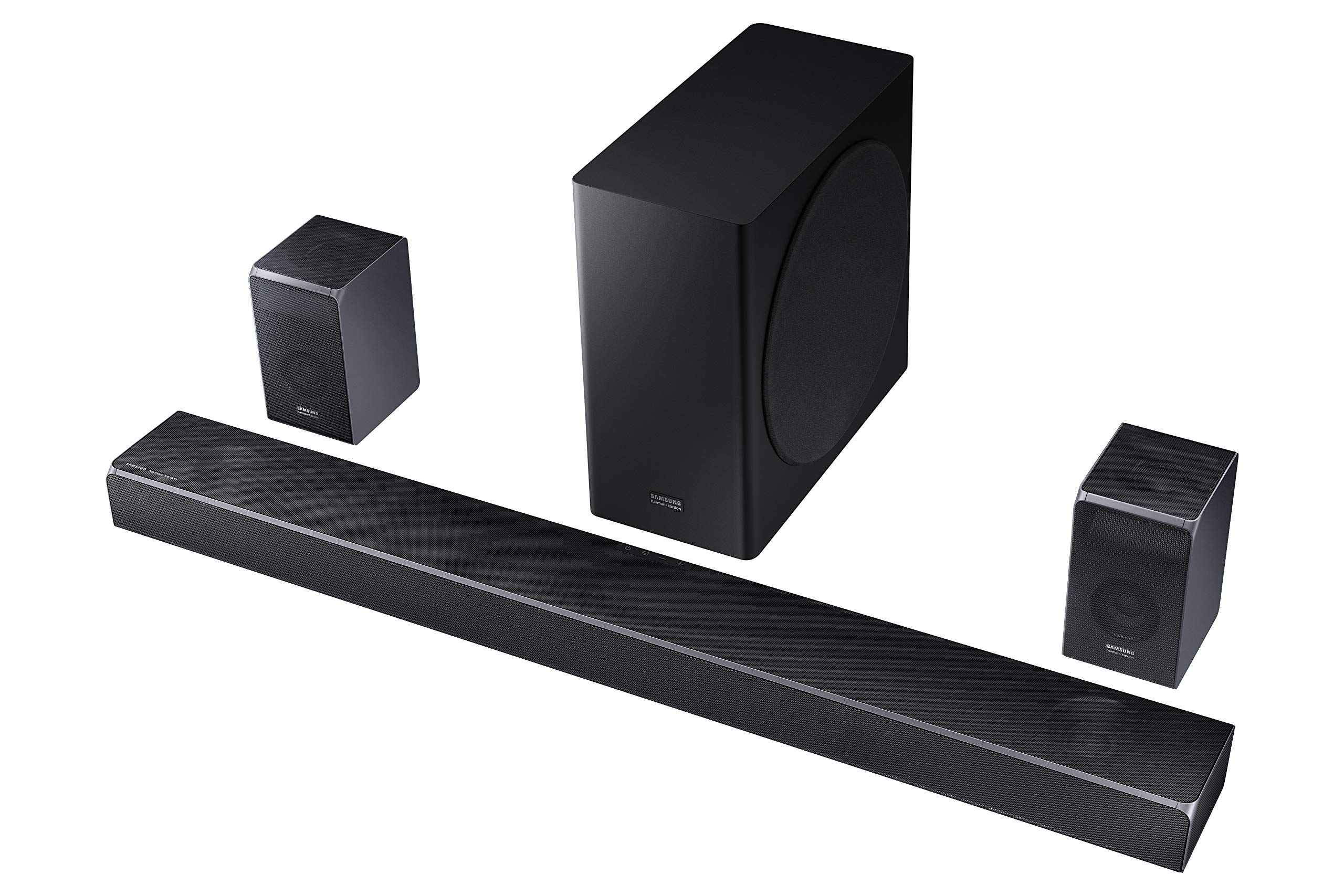 Samsung Harman Kardon 7.1.4 Dolby Atmos Soundbar HW-Q90R with Wireless Subwoofer and Rear Speaker Kit, Adaptive Sound, Game Mode, 4K Pass-Through with HDR, Bluetooth & Alexa Compatible (HW-Q90R/ZA)
