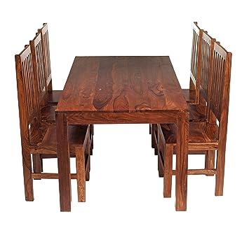 Solid Sheesham Indian Rosewood Dining Set 6ft (1.8m) With 6 High Back Slat