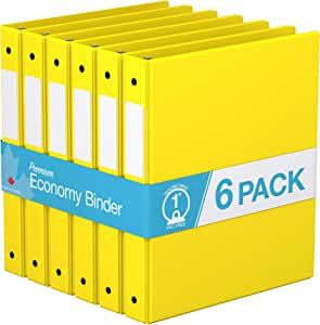 "Premium Economy, Round Ring, Binder, 6 Pack (1"", Yellow)"