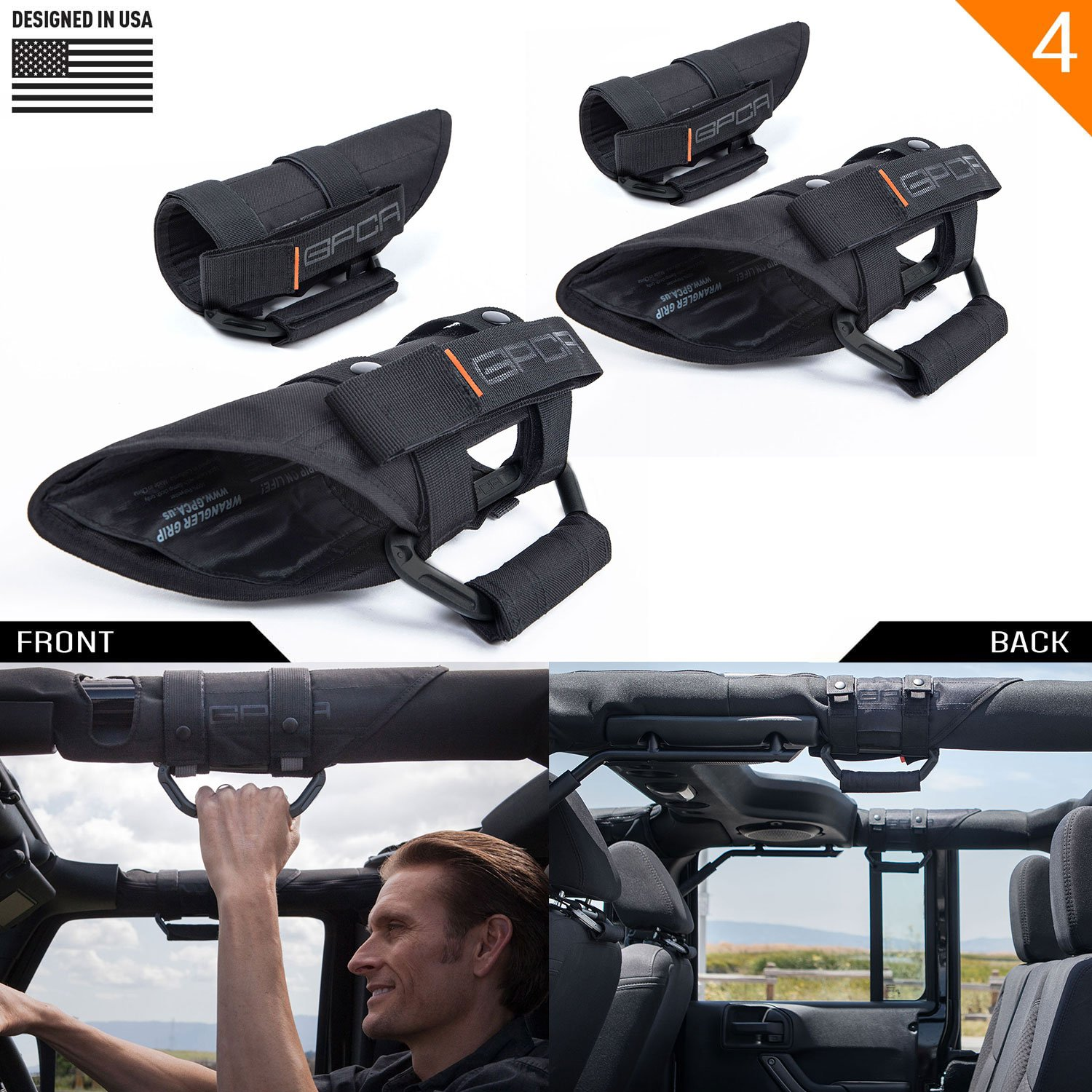 GPCA GP-Grip PRO Grab Handle for Jeep Wrangler JL JK Sport Sahara Freedom Rubicon Unlimited 2DR/ 4DR 2007-2019 w/ 3'' Padded roll bar. Universal to Front/Back (4 Pack Jet Black)