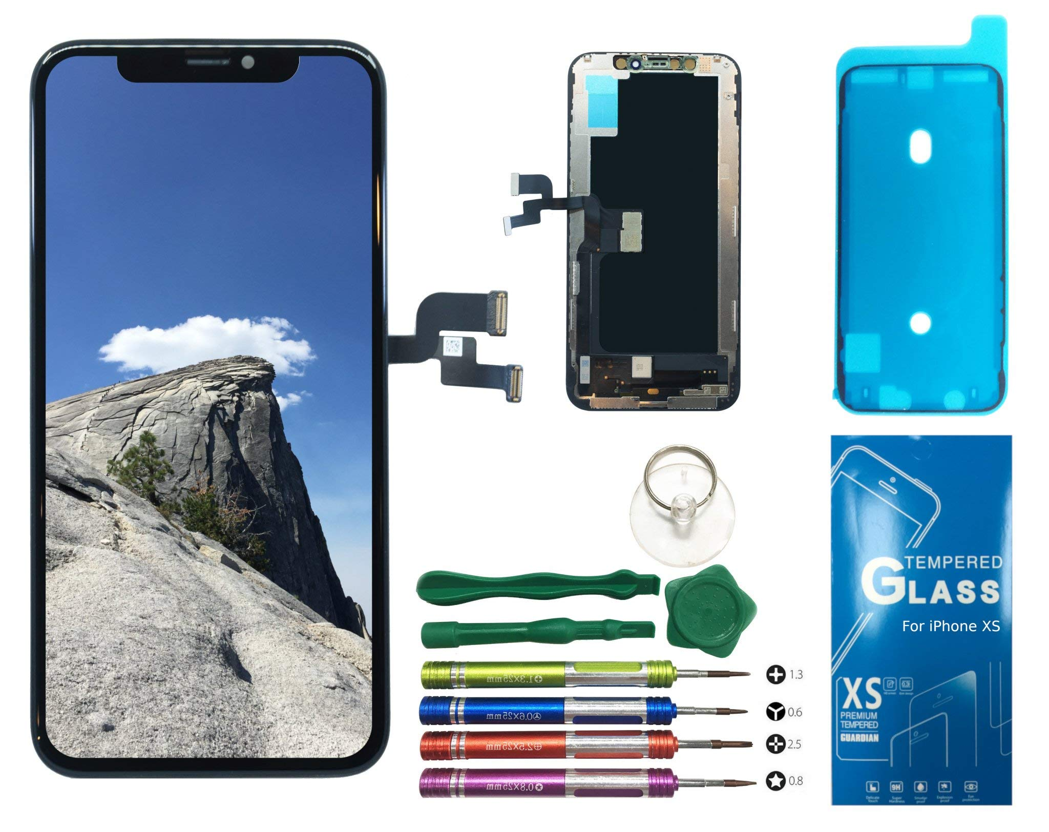 UNUS OLED Digitizer Replacement Kit for iPhone Xs, Comes with Tempered Glass Screen Protector and Free Tool Kits by UNUS