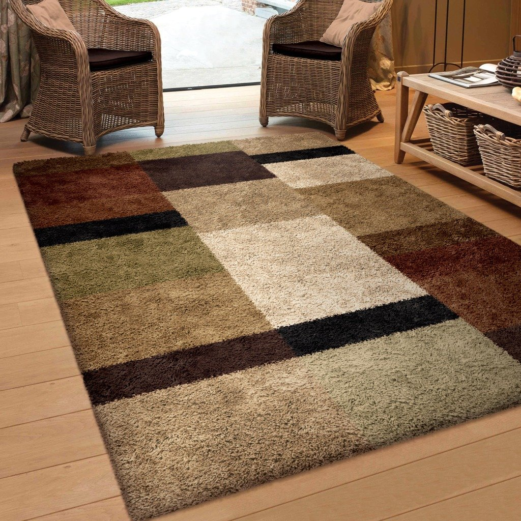 Brown And Black Geometric Area Rug 5x7: Amazon.com