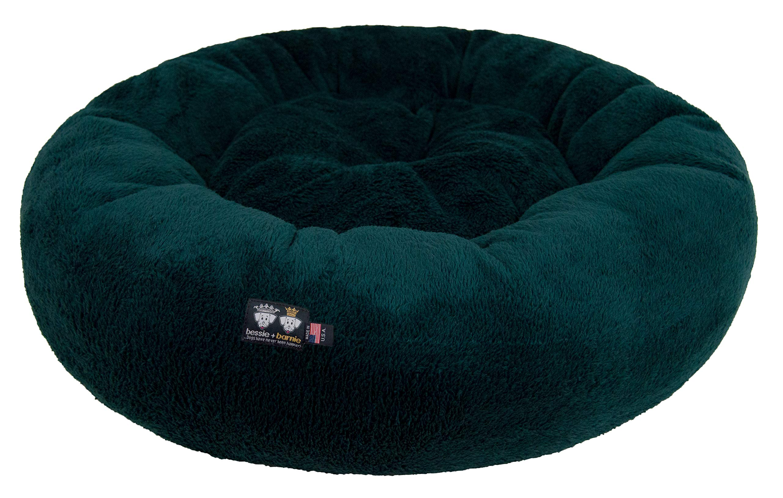 BESSIE AND BARNIE Ultra Plush Deluxe Comfort Pet Dog & Cat Hunter Green Snuggle Bed (Multiple Sizes) - Machine Washable, Made in The USA, Reversible, Durable Soft Fabrics, S - 23'' x 23''