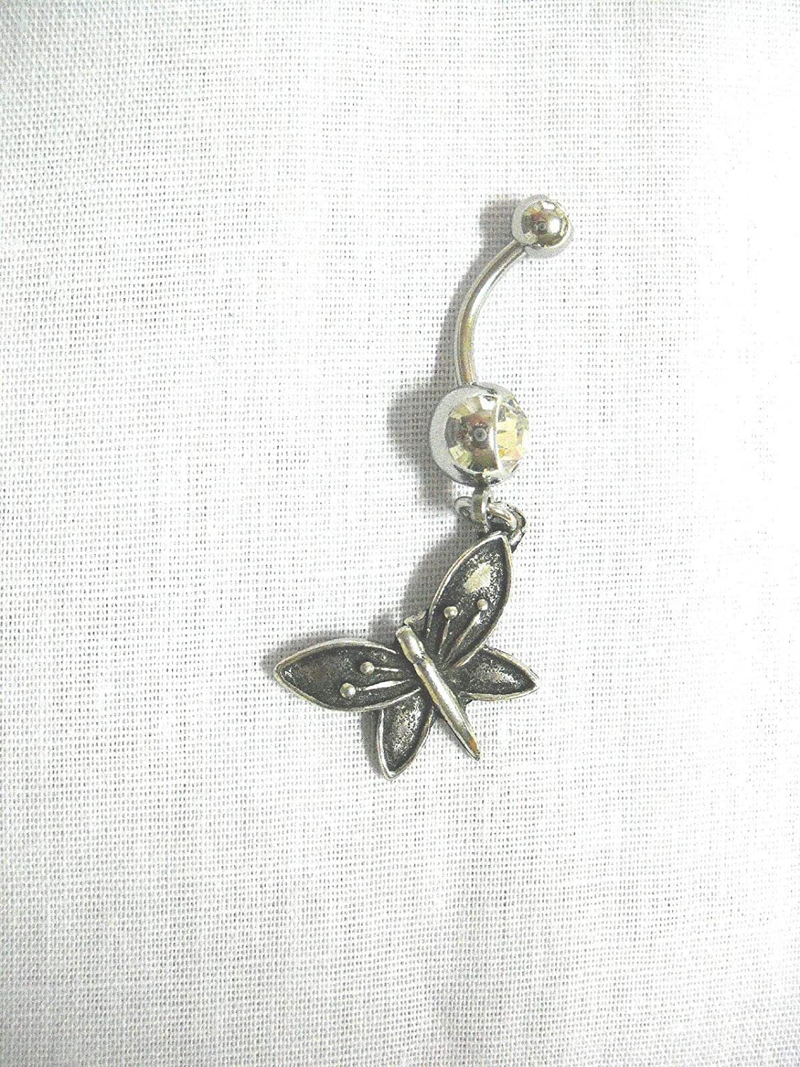 New Antiqued Angled Butterfly Dangling Charm ON Clear Belly Ring KEZ-3163