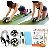 Furious Fitwear Ab Roller Wheels for Men & Women for Perfect Abs Training, Toning & Total Fitness - Pick Dual Wheel Machine with Resistance Bands & Foot Straps or 3-Wheel Equipment for Slide Workout