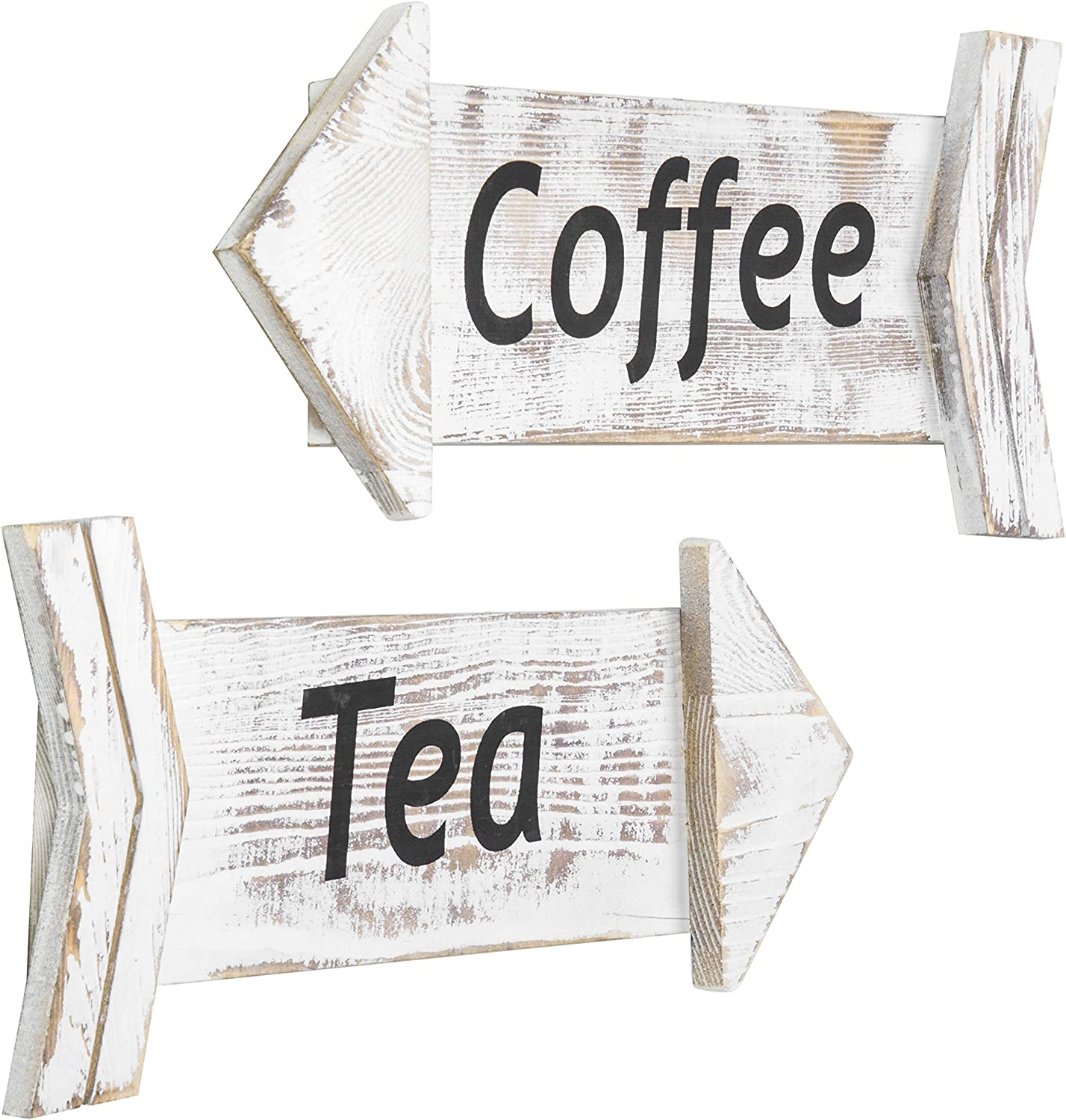 MyGift Whitewashed Wood Tea & Coffee Wall Mounted Decorative Arrow Signs