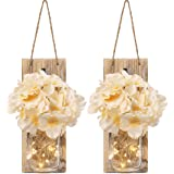 Rustic Mason Jar Sconces for Home Decor Decorative Flower Wall Decor with LED Strip Lights Silk Hydrangea and Wrought Iron Hooks for House Decoration (Set of 2) Brown