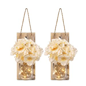 Rustic Mason Jar Sconces for Home Decor, Decorative Flower Wall Decor with LED Strip Lights, Silk Hydrangea, and Wrought Iron Hooks for House Decoration (Set of 2), Brown
