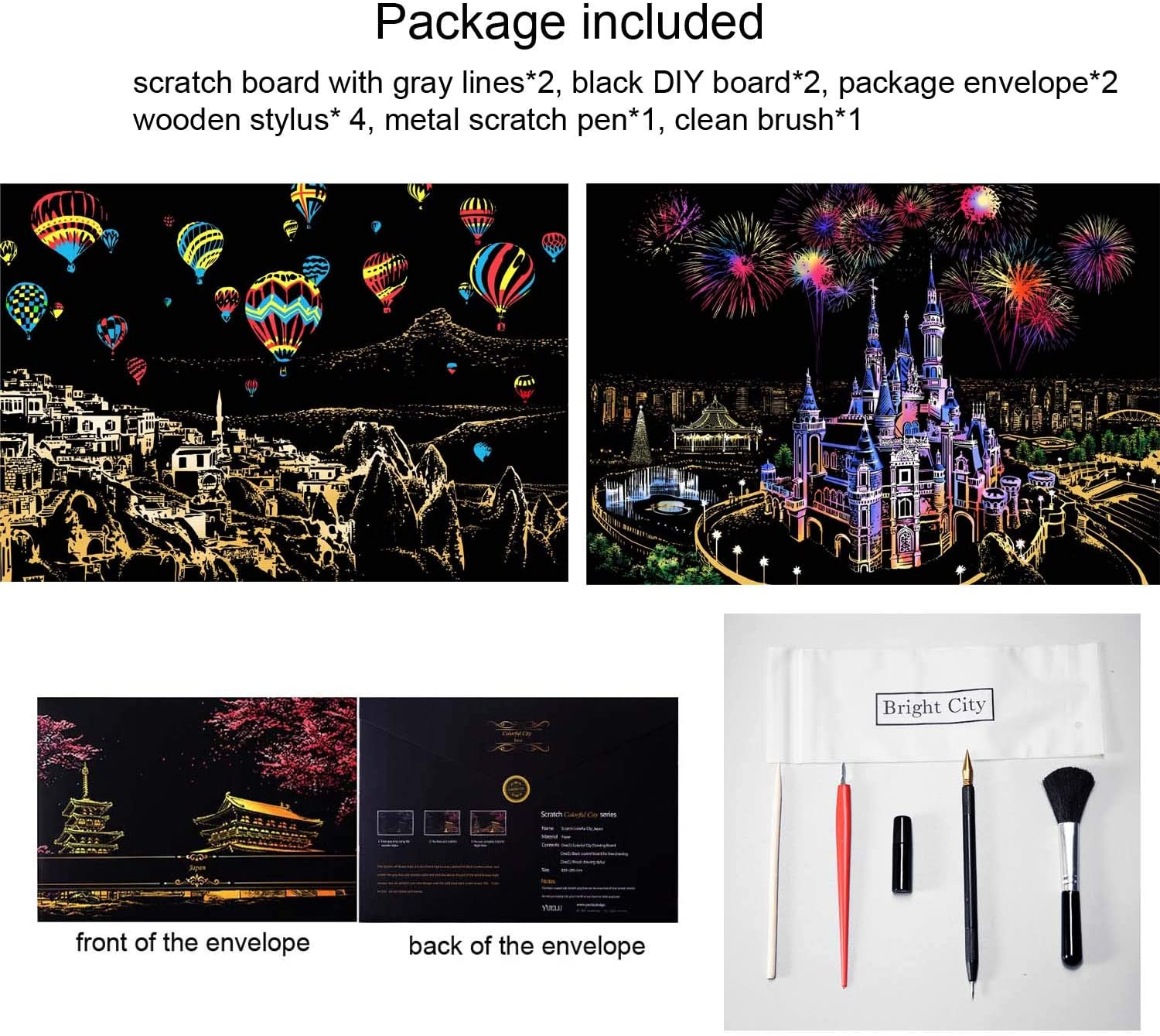 2 Packs Scratch Art Paper for Adults /& Kids 16 X 11.2 Inches with Tools Rainbow Painting Sketch Pads DIY Art Craft Night View Scratchboard