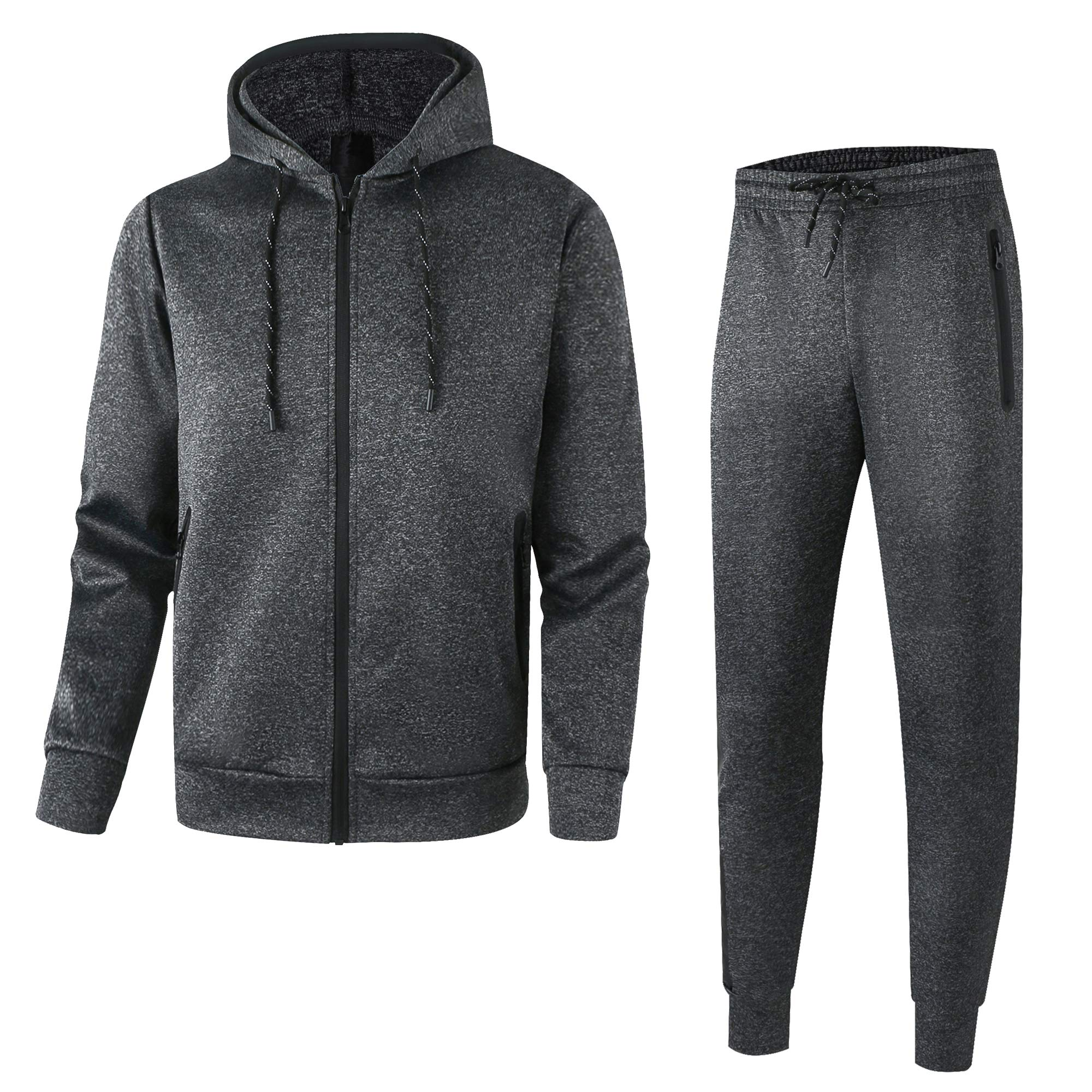 Men's Athletic Casual Tracksuit Pants Full Zip Hooded Jacket Sweatsuit Set for Men(2XL,D-Grey) by URBEX