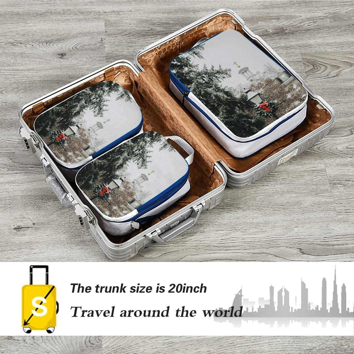 n Winter Landscape 3 3 Set Packing Cubes,2 Various Sizes Travel Luggage Packing Organizers