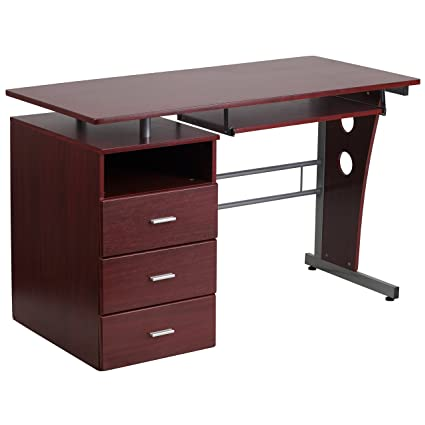 Flash Furniture Mahogany Desk With Three Drawer Pedestal And Pull Out  Keyboard Tray