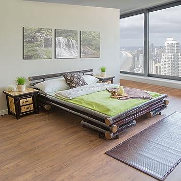 3f2821360a Homestyle4u Bambusbett Futonbett Bambus Bett 140 x 200 cm in dunkelbraun Doppelbett  Bettgestell inkl. Lattenrost