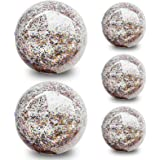 5 Pack Sequin Beach Ball Jumbo Pool Toys Balls Giant Confetti Glitter Inflatable Clear Beach Ball Swimming Pool Water…