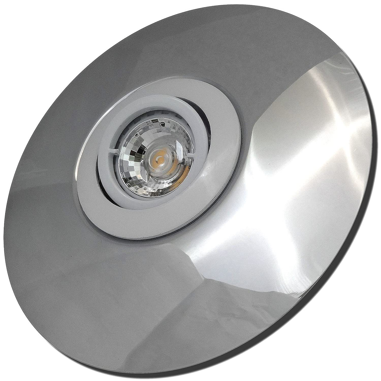 5 Stück MCOB LED Einbaustrahler Big Laura 12 Volt 5 Watt Schwenkbar Weiß + Chrom Warmweiß