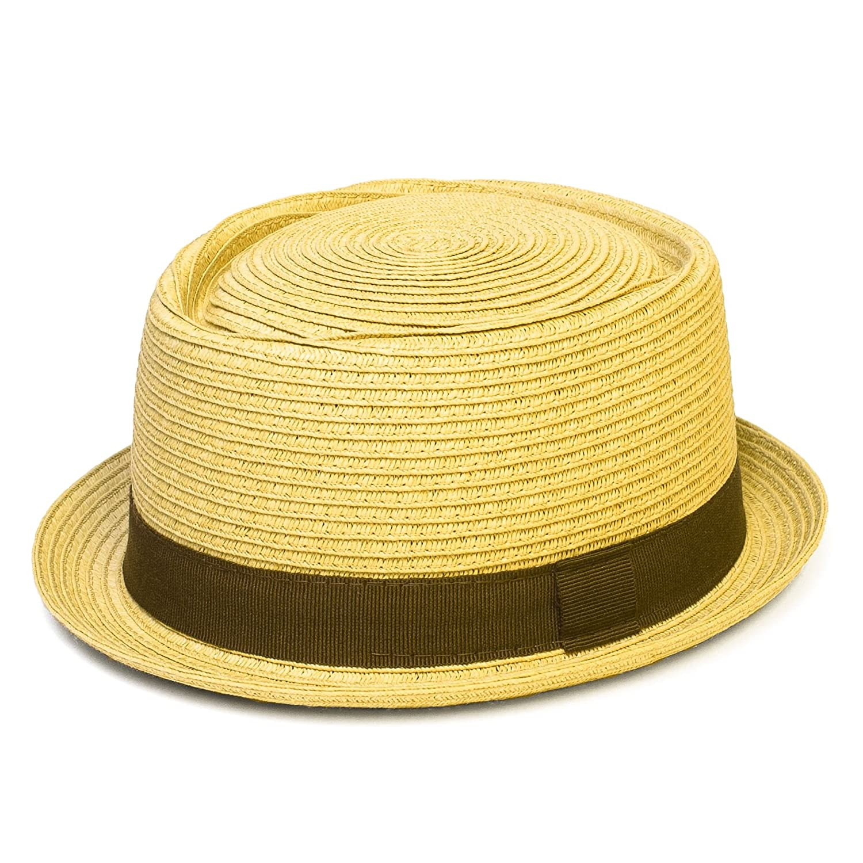 Pork Pie Hat with Narrow Brim and Contrasting Grosgrain Ribbon Band - Ladies Womens Mens Unisex Hat Beige) Hat To Socks