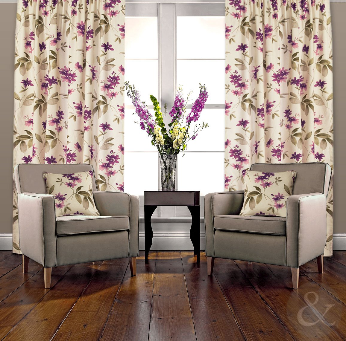 ORIENTAL CURTAINS Floral Heavy Half Panama Cotton Pencil Pleat Lined Curtain  Aubergine ( Purple Damson Cream ) 66x90 Inches ( Extra Long Drop Huge ): ...