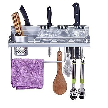bhwin montado en la pared cocina para especias w/utensilios de cocina/olla/
