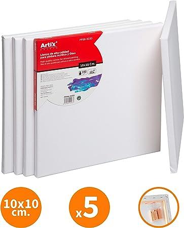Pack 5 Lienzos para Pintar 10x10cm Lienzo Blanco Algodon 100% para ...