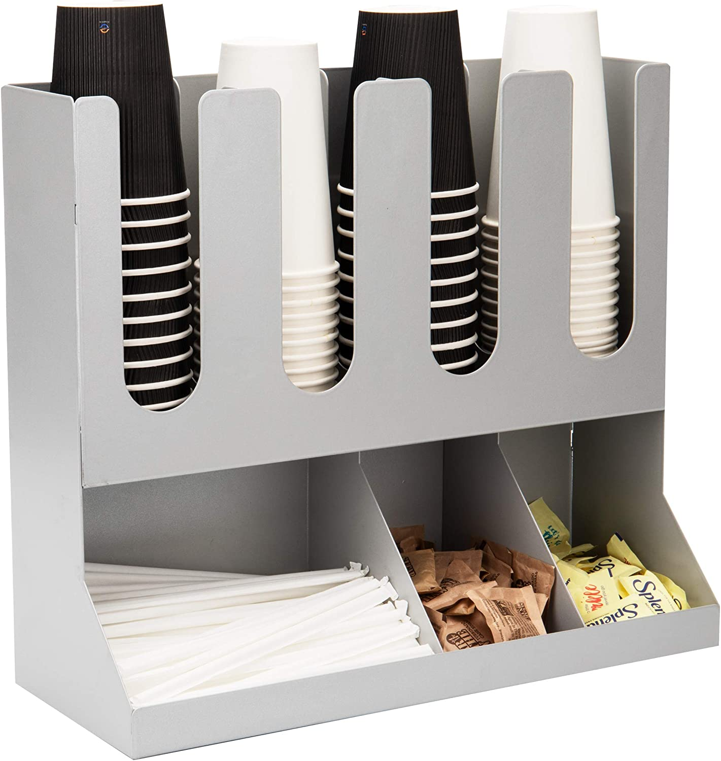 Mind Reader Upright Condiment Station 7 Section Countertop Organizer for Hot or Cold Disposable Cups, Sugar Packets, Straws, Utensils, Silver Stainless Steel