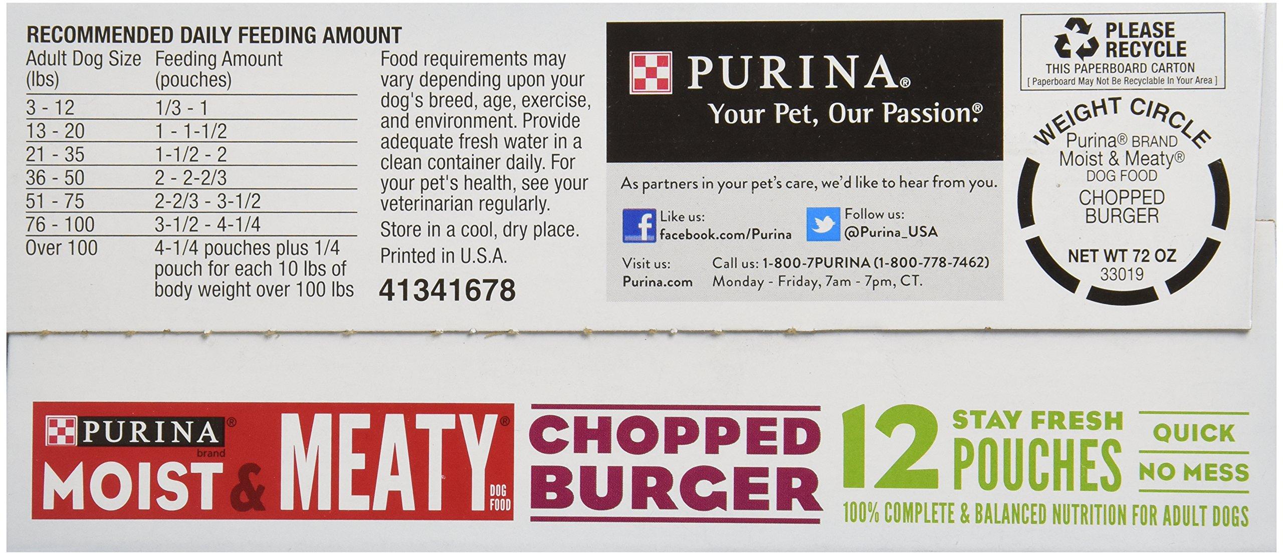 Purina Moist & Meaty Dog Food, Chopped Burger, 12 Pouches, 6 oz each by Moist & Meaty (Image #4)
