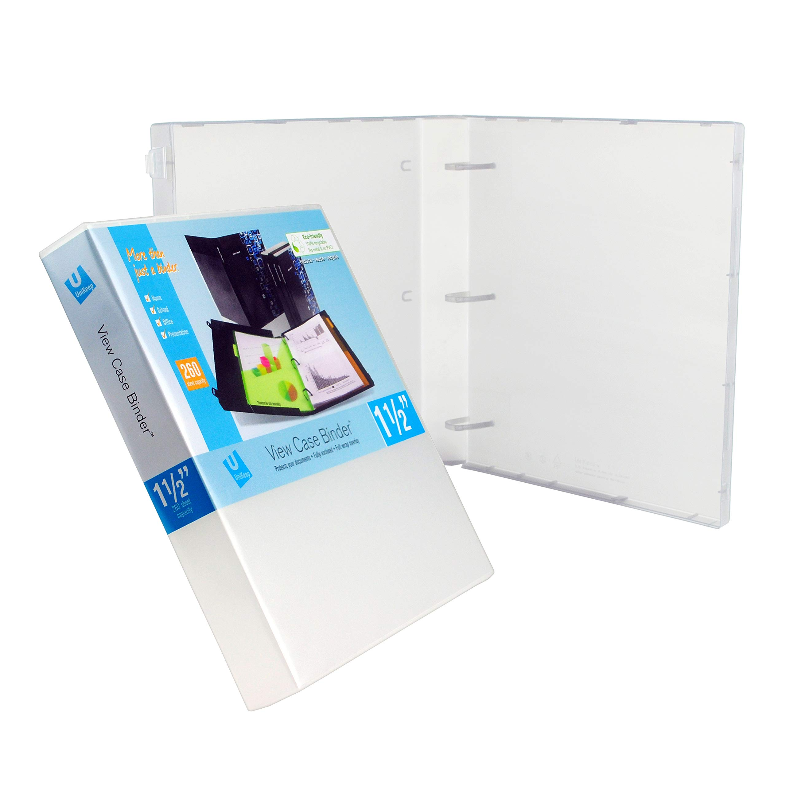 Unikeep 3 Ring Binder - Clear - Case View Binder - 1.5 Inch Spine - Metal Rings - With Clear Outer Overlay - 3 Pack of Binders