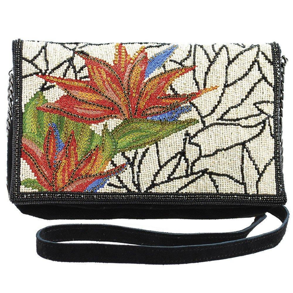 MARY FRANCES Escape Artist Beaded Bird of Paradise Suede Crossbody Handbag