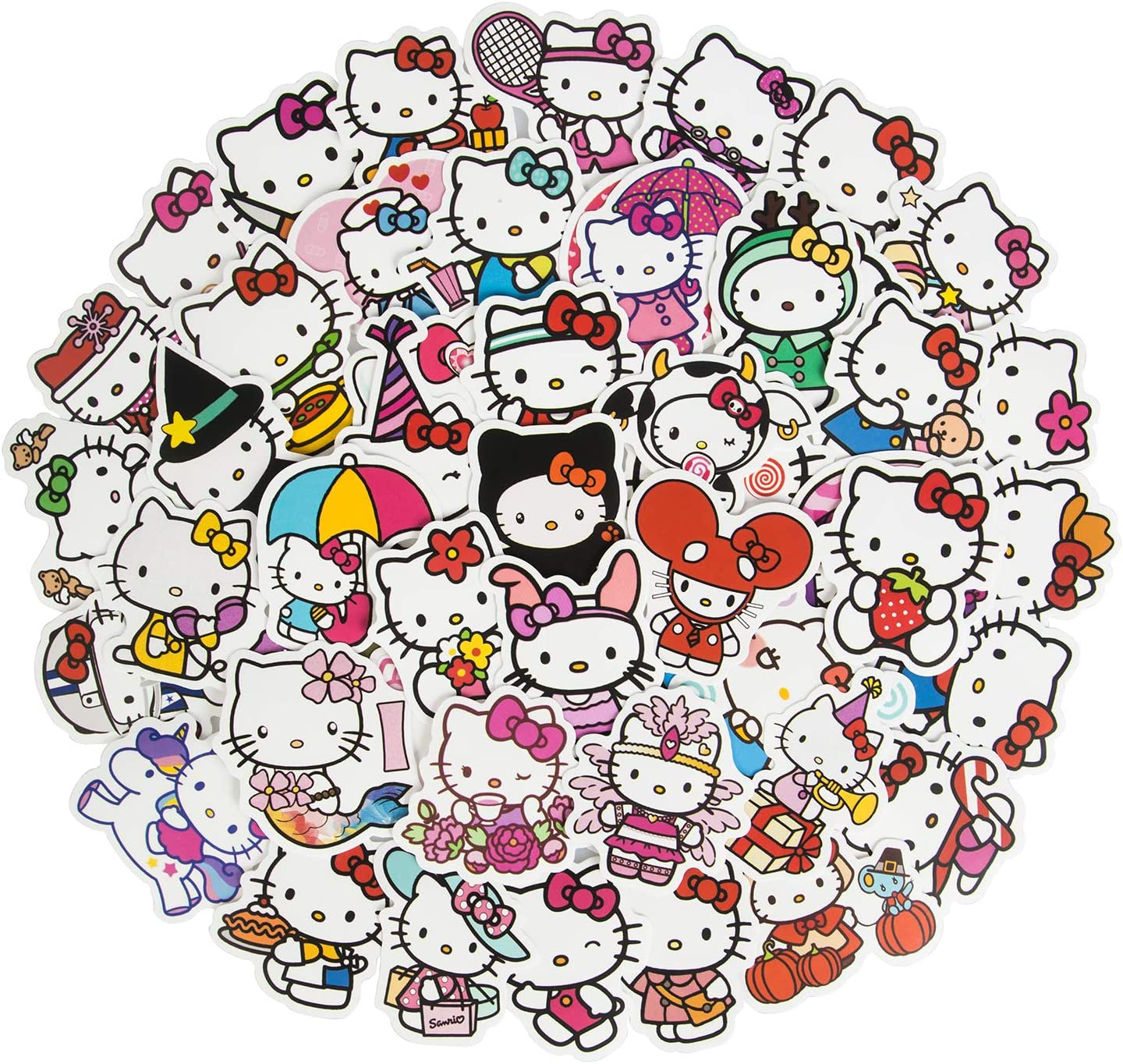 Cute Hello Kitty Stickers for Laptop, 50Pcs Lovely Waterproof Water Bottle Stickers for Skateboard Cup Guitar Luggage, Kawaii Vinyl Aesthetic Stickers for Kids Girls Teens