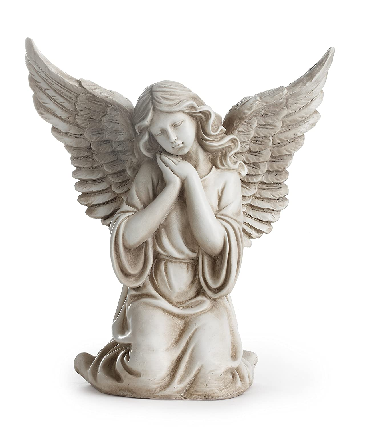 Napco 11300 Kneeling Angel with Outstretched Wings Garden Statue, 12.5""
