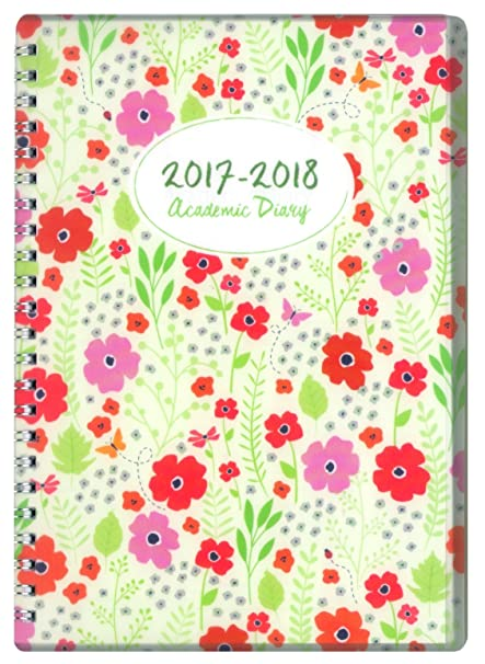 Tallon Agenda escolar, A5, año académico 2017-2018, vista por semanas, diseño de flores [idioma español no garantizado]