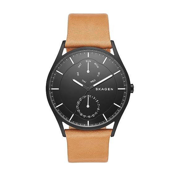 Skagen Reloj Hombre de Analogico con Correa en Cuero SKW6265: Amazon.es: Relojes