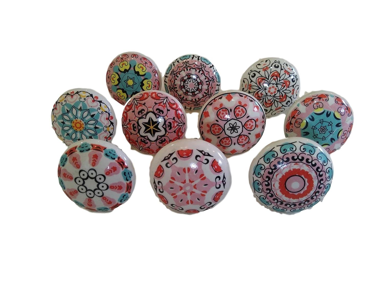 Lot de 10 boutons de meuble assortis en cé ramique style vintage motif mandala - Pour porte, placard, tiroir, armoire KNOBSWORLD