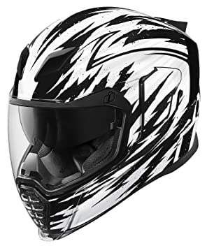 Icon Airflite Fayder - Casco de moto, color blanco y negro