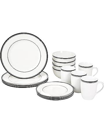 amazon dinnerware sets home kitchen Modern Green Kitchen amazonbasics 16 piece cafe stripe dinnerware set service for 4
