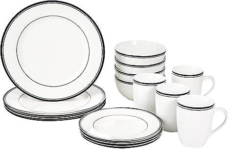 Amazonbasics 16 Piece Cafe Stripe Kitchen Dinnerware Set Plates Bowls Mugs Service For 4 Black Amazon Ca Home