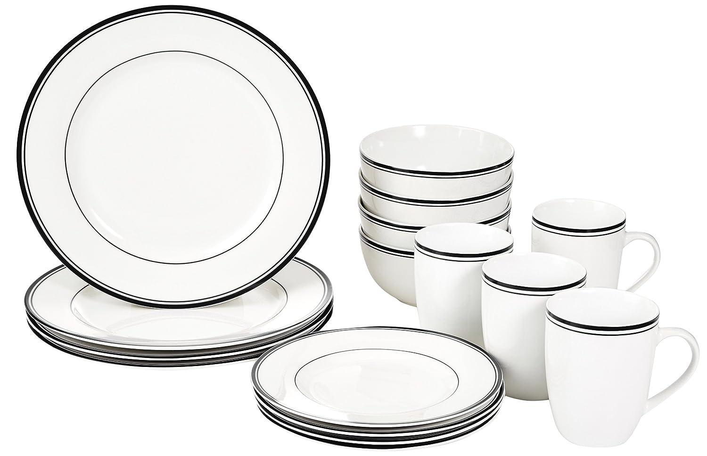 AmazonBasics 16-Piece Cafe Stripe Dinnerware Set
