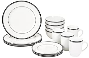 AmazonBasics 16-Piece Cafe Stripe Dinnerware Set, Service for 4 - Black