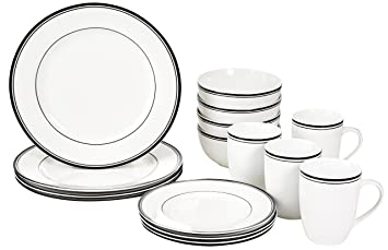 AmazonBasics 16-Piece Cafe Stripe Dinnerware Set Service for 4 - Black  sc 1 st  Amazon.com : white and black dinnerware - pezcame.com