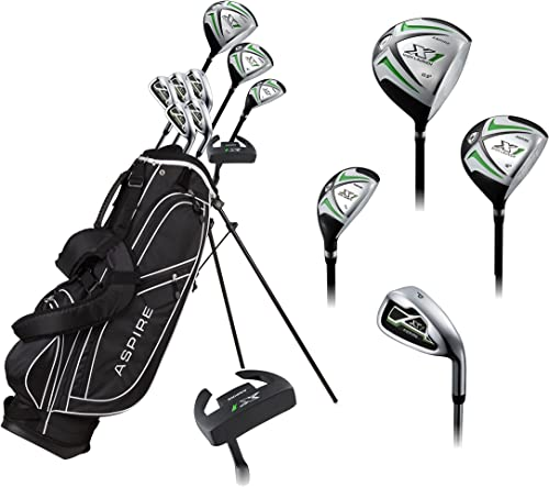Aspire X1 Men s Complete Golf Set Includes Titanium Driver, S.S. Fairway, S.S. Hybrid, S.S. 6-PW Irons, Putter, Stand Bag, 3 H C s Right Hand Tall Size for Men 6 1 and Above