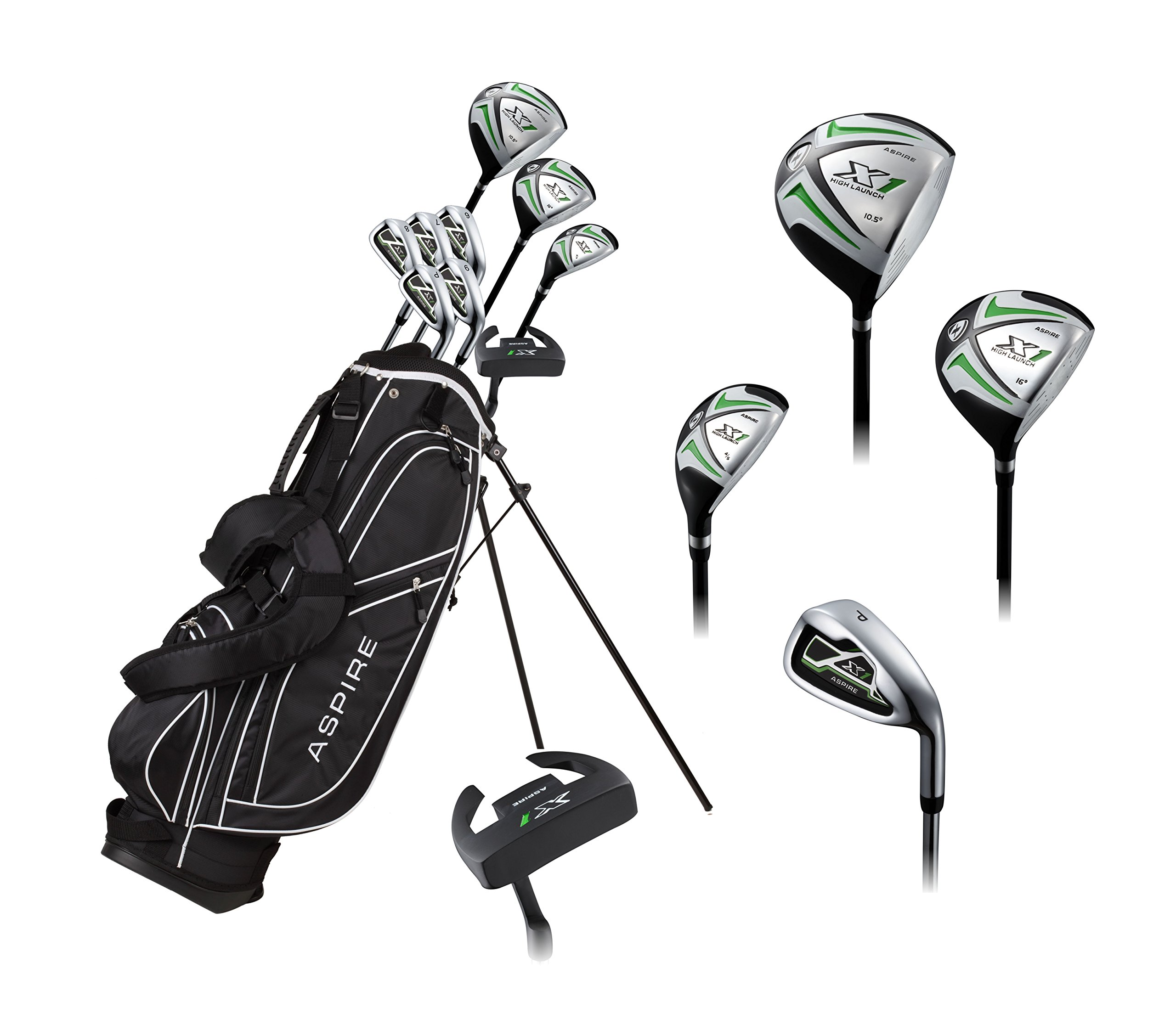 Aspire X1 Men's Complete Golf Set Includes Titanium Driver, S.S. Fairway, S.S. Hybrid, S.S. 6-PW Irons, Putter, Stand Bag, 3 H/C's Right Hand Tall Size for Men 6'1'' and Above!